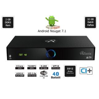Atlanta 4K CI UHD Modül Girişli Combo Android Uydu Alıcısı
